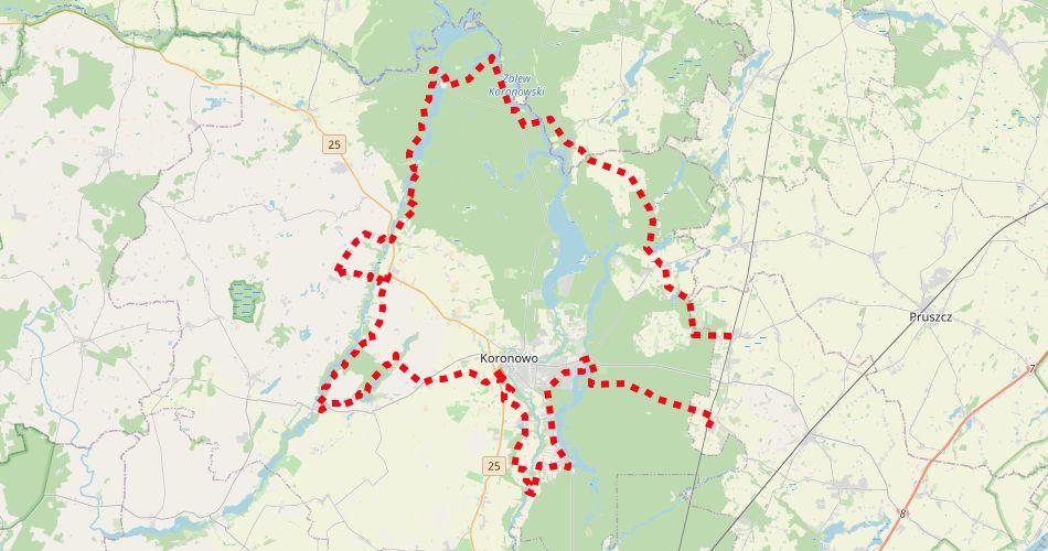 Mapa trasy Wudzyn – Stronno, Jezior Koronowskich (szlak pieszy, zielony)