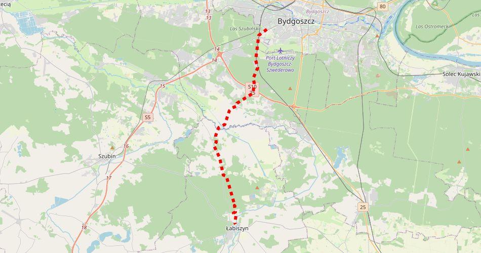 Mapa trasy Bydgoszcz – Łabiszyn (im. Dąbrowskiego, pieszy, czerwony)
