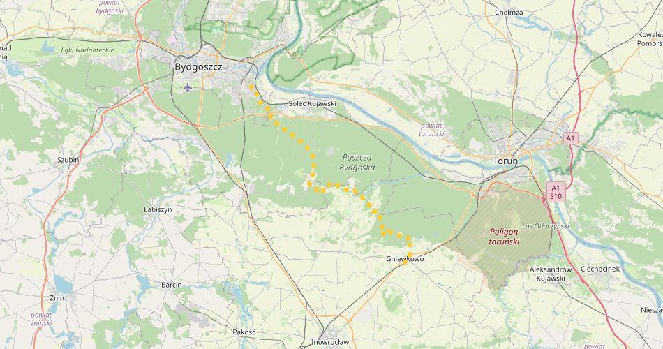 """Mapa trasy Bydgoszcz Łęgnowo – Gniewkowo (""""Puszczański"""", pieszy, żółty)"""
