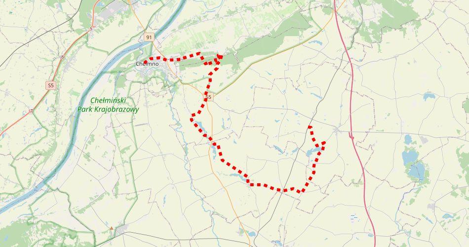 Mapa trasy Chełmno – Kornatowo (Martyrologii, pieszy, czerwony)