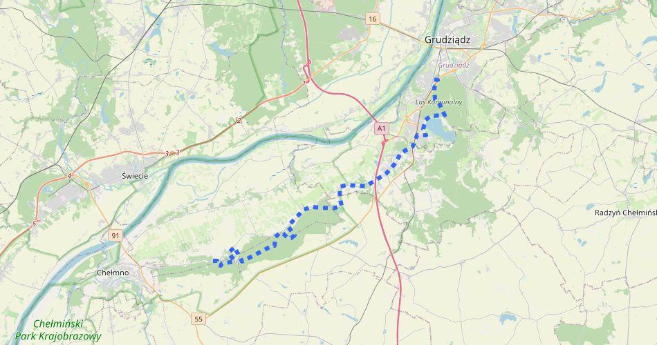 Mapa trasy Grudziądz – Klamry (pieszy, niebieski)