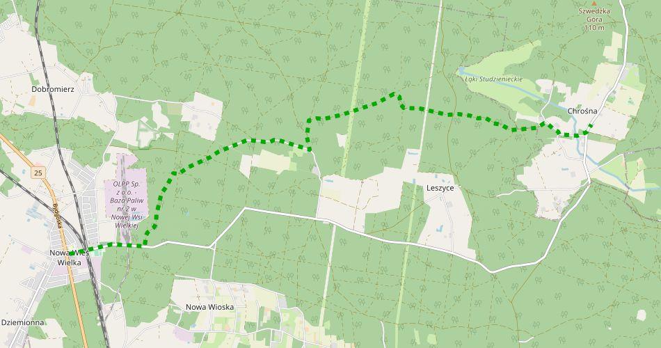 Mapa trasy Nowa Wieś Wielka – Chrośna (pieszy, zielony)