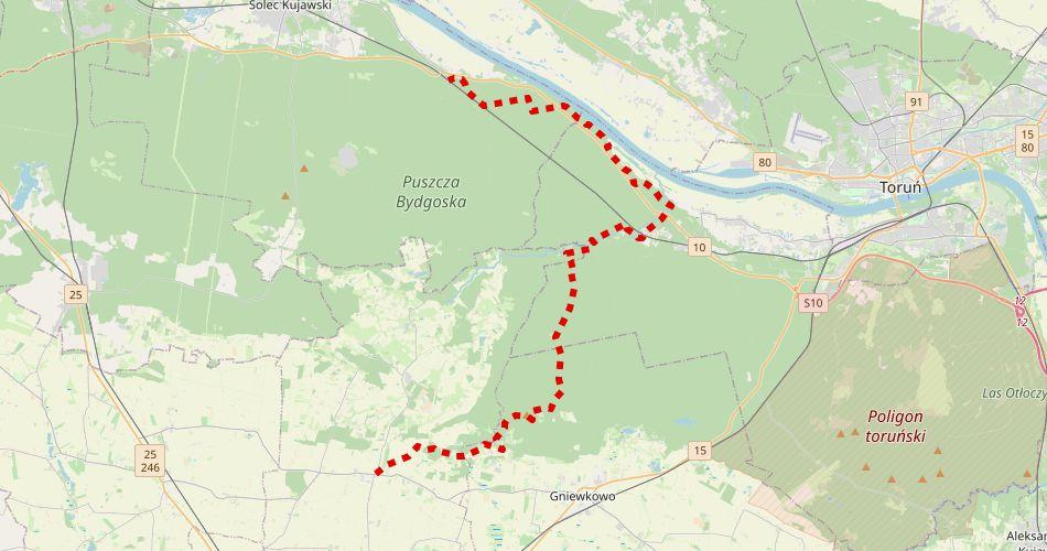 Mapa trasy Przyłubie – Rojewo, Zielonej Strugi (pieszy, czerwony)
