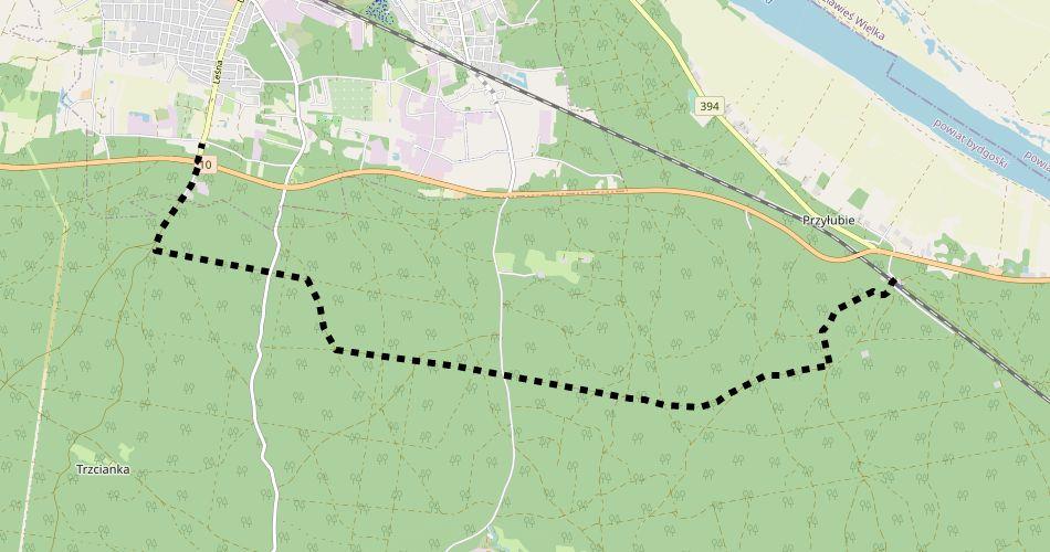 Mapa trasy Solec Kujawski – Przyłubie (pieszy, czarny)