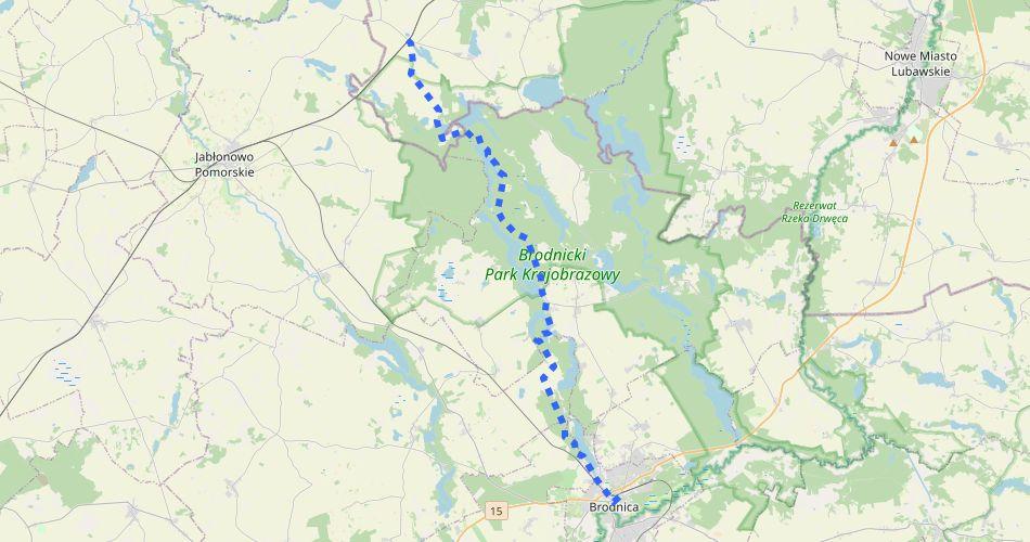 Mapa trasy Brodnica – Ostrowite (pieszy, niebieski)