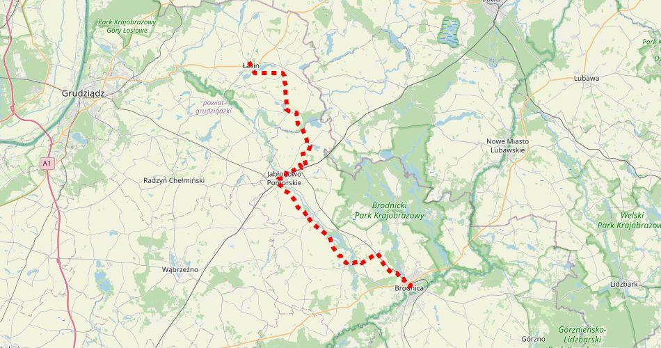 Mapa trasy Brodnica – Łasin (im. T. Baczyńskiego, szlak pieszy, czerwony)