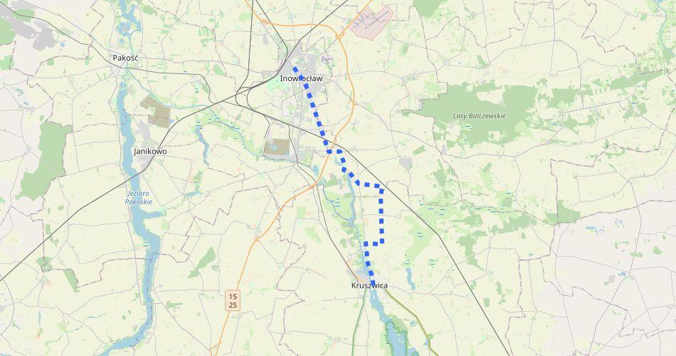 Mapa trasy Inowrocław – Kruszwica (im. Jana Kasprowicza, szlak pieszy, niebieski)