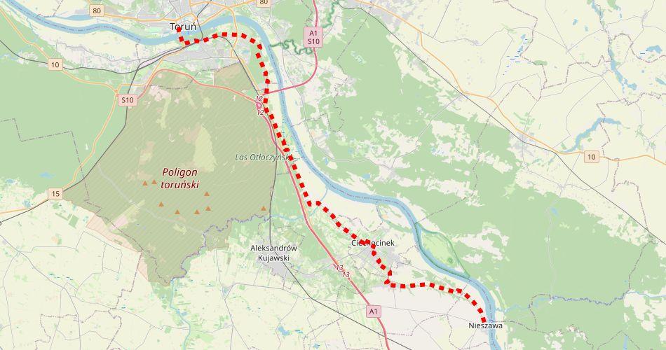 Mapa trasy Toruń – Nieszawa (im. Noakowskiego, pieszy, czerwony)