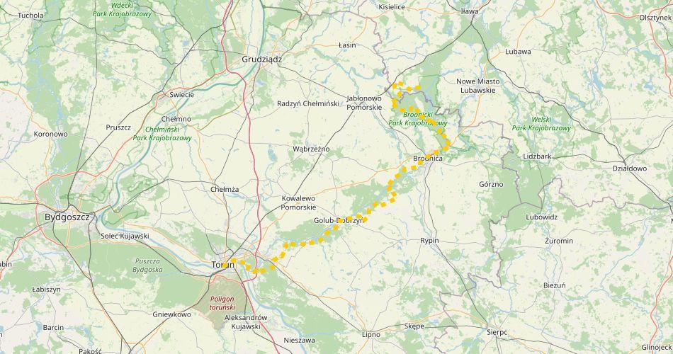 Mapa trasy Toruń – Radomno (im. F. Łęgowskiego, pieszy, żółty)