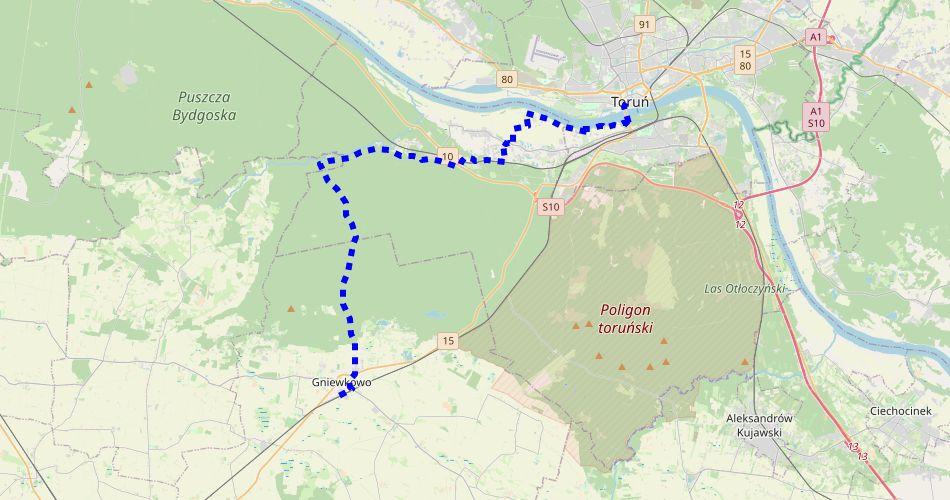 Mapa trasy Toruń – Gniewkowo, Szlak Mennonitów (pieszy, niebieski)