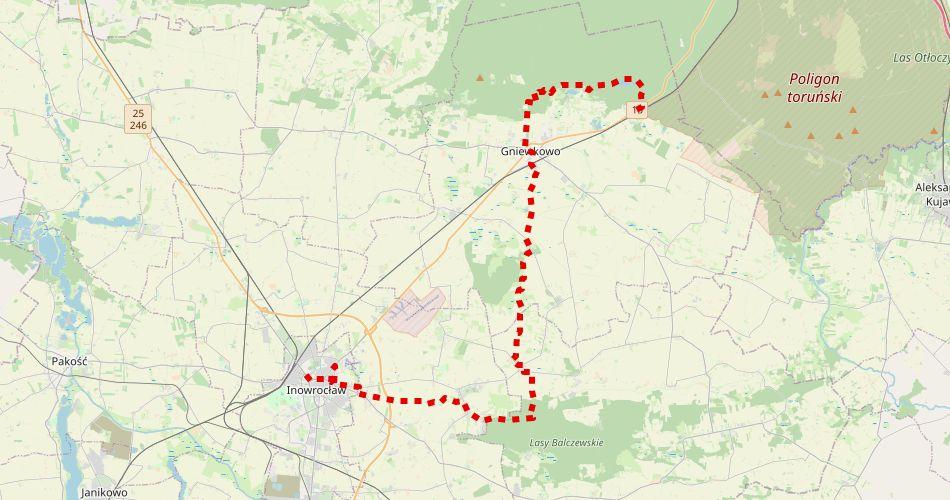 Mapa trasy Suchatówka – Inowrocław (im. gen. Władysława Sikorskiego szlak pieszy, czerwony)