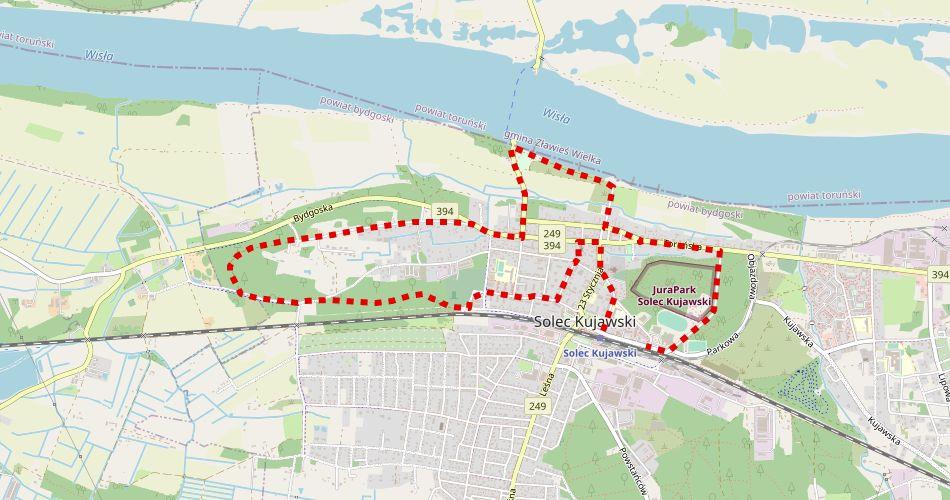 Mapa trasy Wokół Solca Kujawskiego (Martyrologii Sołecczan, szlak pieszy, czerwony)