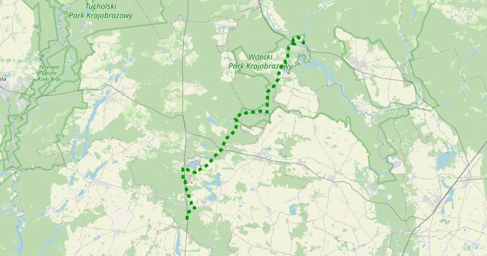 """Mapa trasy Błądzim – Tleń (""""Cisów Staropolskich"""", szlak pieszy, zielony)"""