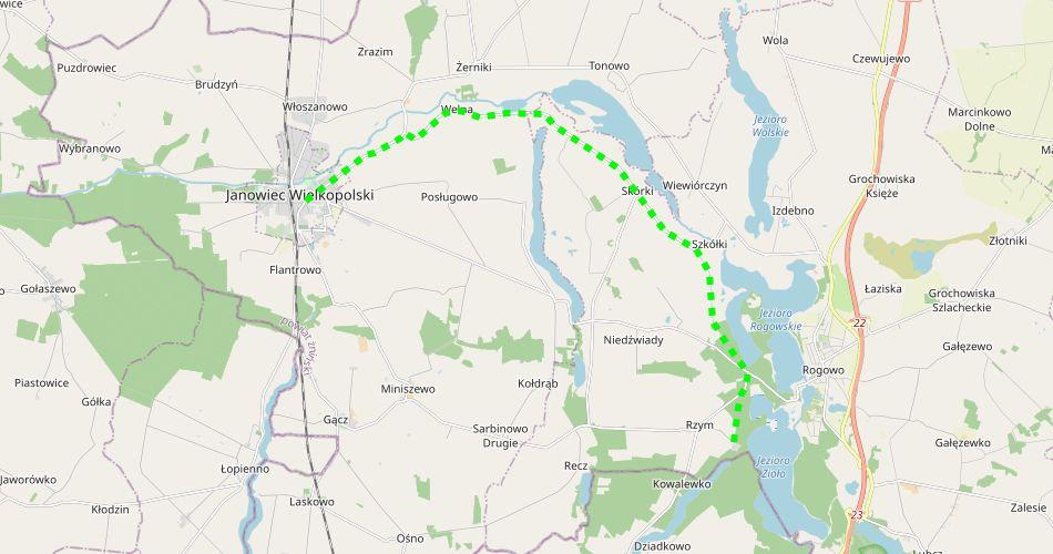 Mapa trasy Janowiec Wielkopolski – Rzym (nad Wełną, szlak pieszy, zielony)
