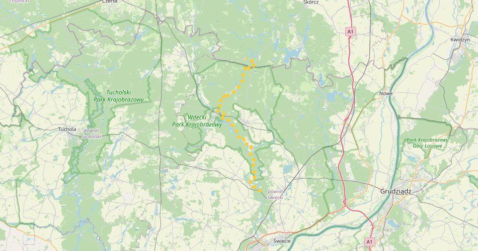 Mapa trasy Leosia – Błędno (im. Hoffmanna, szlak pieszy, żółty)