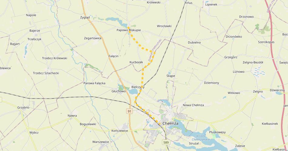 Mapa trasy Papowo Biskupie – Chełmża (szlak pieszy, źółty)