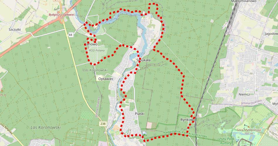 Mapa trasy Smukała (szlak spacerowy, czerwony)