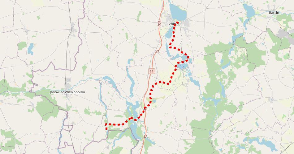 """Mapa trasy Żnin – Recz (""""Piastowski"""", szlak pieszy, czerwony)"""