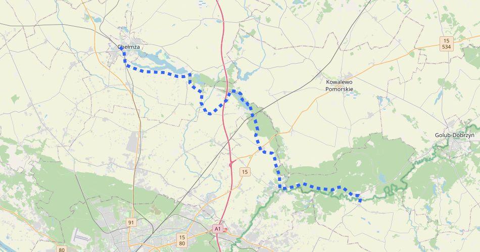 Mapa trasy Chełmża – Ciechocin (szlak pieszy, niebieski