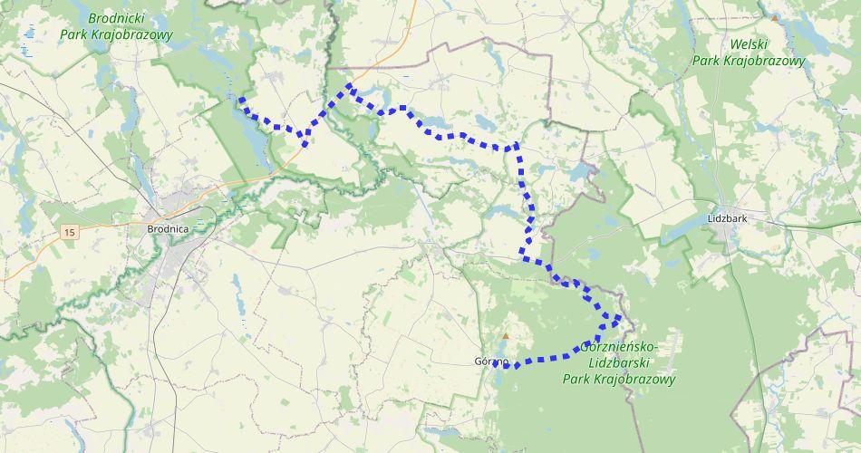 Mapa trasy Bachotek – Górzno (im. R. Sołtysińskiego, szlak pieszy, niebieski)