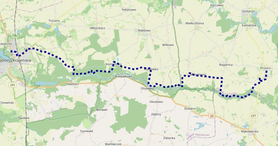 Mapa trasy Sępólno Krajeńskie – Pruszcz (im. gen. J. Komierowskiego, szlak pieszy, niebieski)