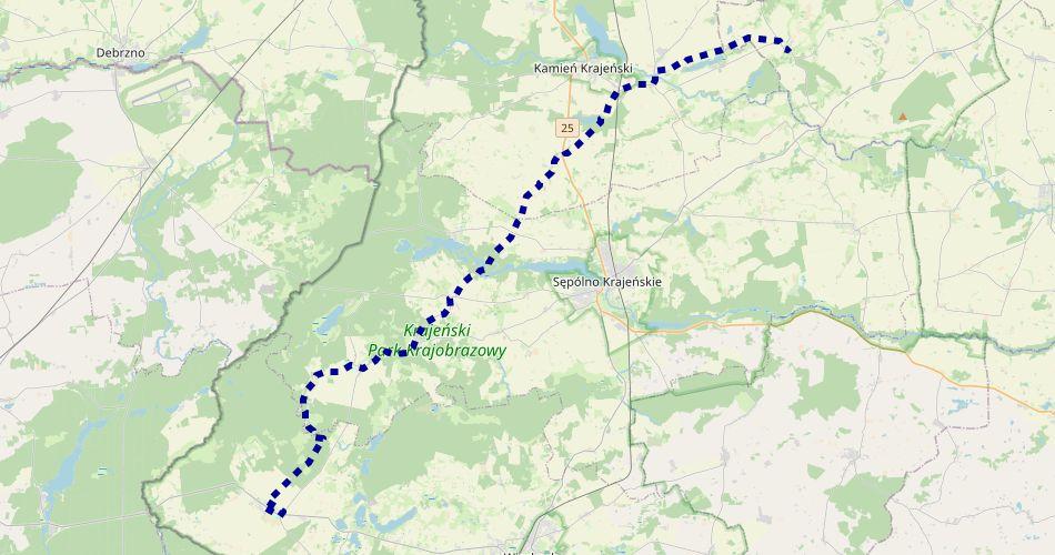 """Mapa trasy Sypniewo – Drożdzienica (""""Znaku Rodła im. Janiny Kłopockiej"""", szlak pieszy, niebieski)"""