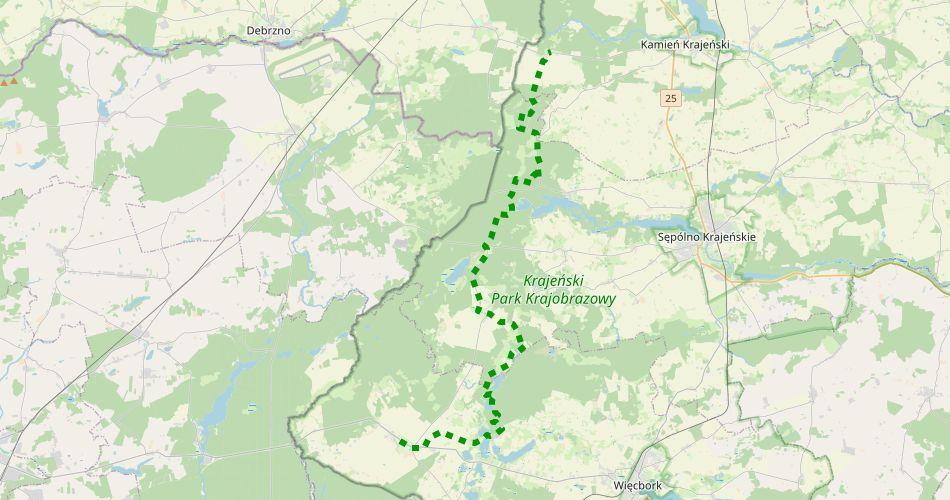 """Mapa trasy Sypniewo – Witkowo (""""Rezerwatów Krajeńskich"""", szlak pieszy, zielony)"""