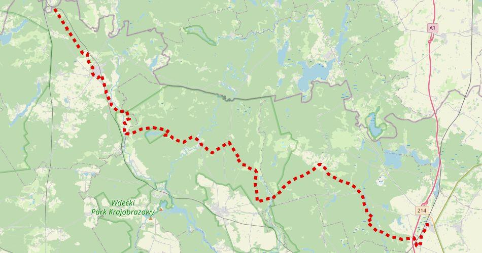 """Mapa trasy Szlachta – Warlubie (""""Stu z Nieba"""", szlak pieszy, czerwony)"""
