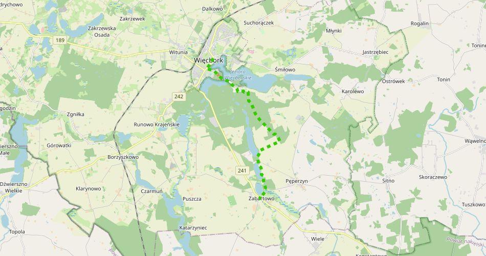 """Mapa trasy Więcbork – Witosław (""""Jezior Krajeńskich"""", szlak pieszy, zielony)"""