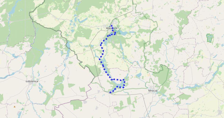 Mapa trasy Więcbork – Witosław (im. Stanisława Łabendzińskiego, szlak pieszy, niebieski)