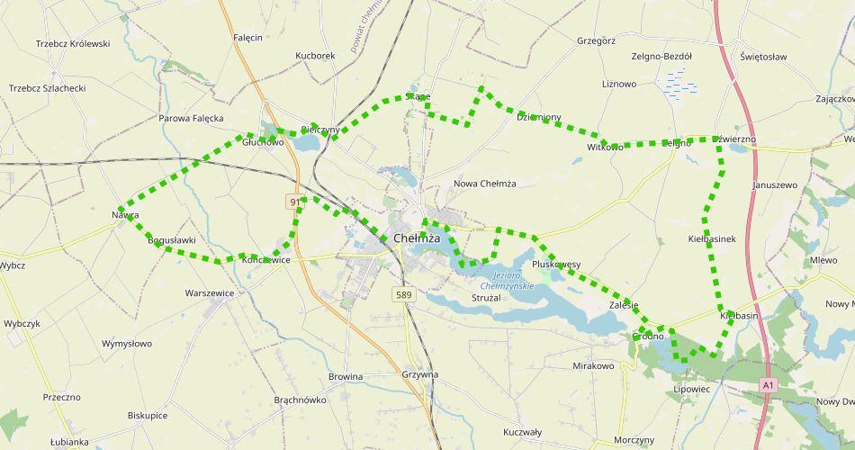 Mapa trasy Wokół Chełmży (szlak pieszy, zielony)