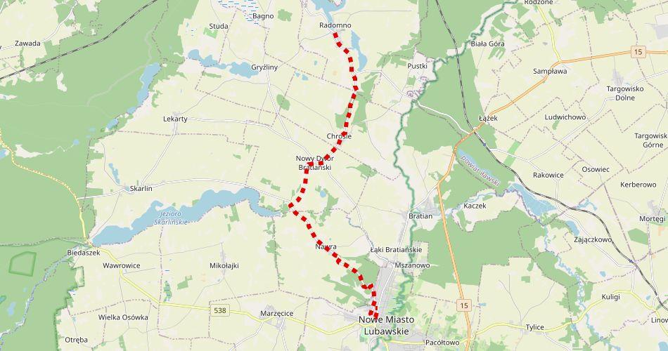 Mapa trasy Radomno – Nowe Miasto Lubawskie (szlak pieszy, czerwony)