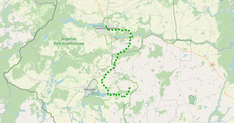 """Mapa trasy Jastrzębiec – Sępólno Krajeńskie (""""Męczęństwa Krajan"""", szlak pieszy, zielony)"""