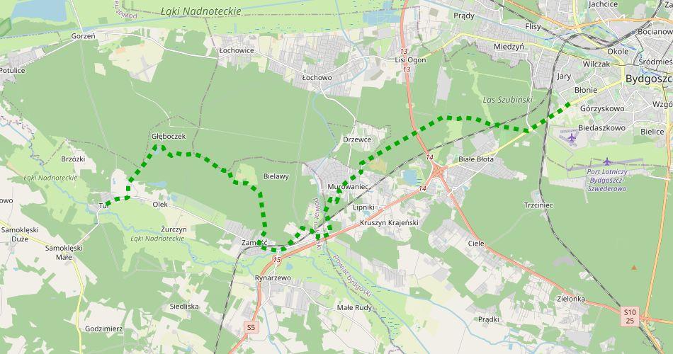 Mapa trasy Bydgoszcz – Tur (im. Rzeźniackiego, szlak pieszy, zielony)