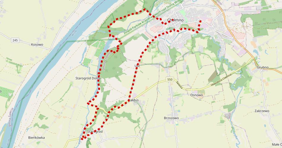 Mapa trasy Starego Chełmna (szlak pieszy, zielony)