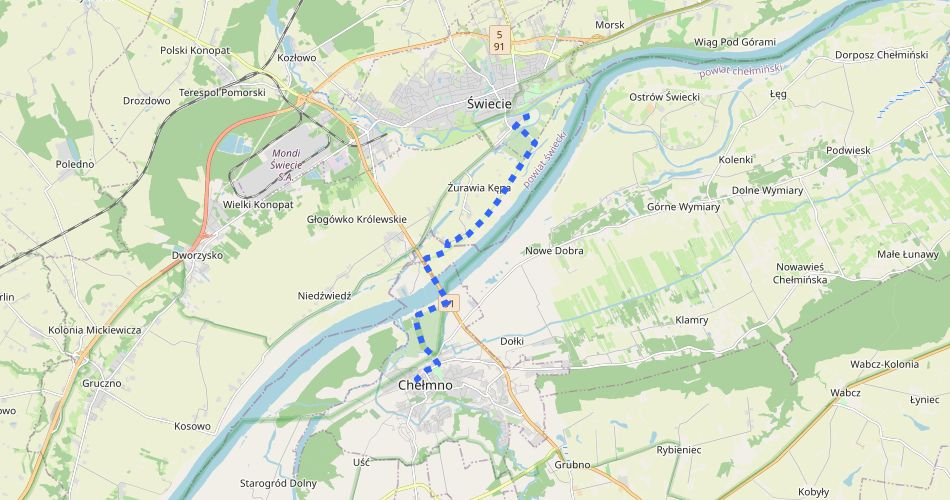 Mapa trasy Chełmno – Świecie zamek (Mestwina, szlak pieszy, niebieski)