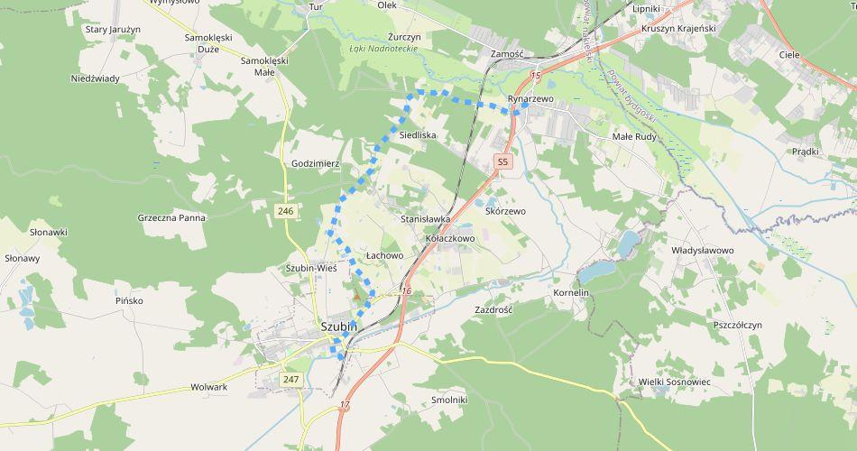 Mapa trasy Rynarzewo – Szubin (im. płk. Ignacego Mielżyńskiego, szlak pieszy, niebieski)