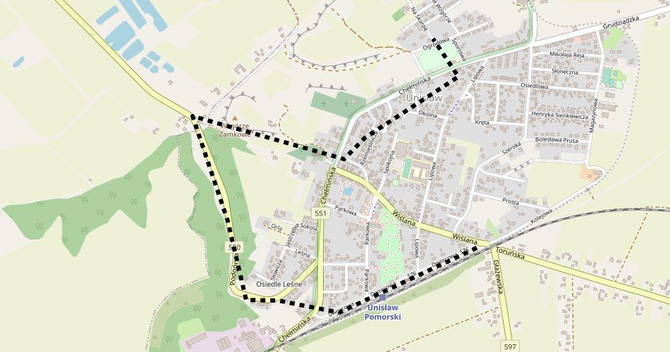 Mapa trasy Unisław – Unisław (szlak pieszy, czarny)
