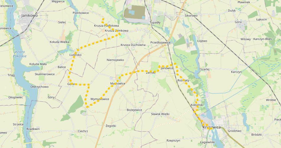 Mapa trasy Kruszwica – Krusza Podlotowa (szlak pieszy, zółty)