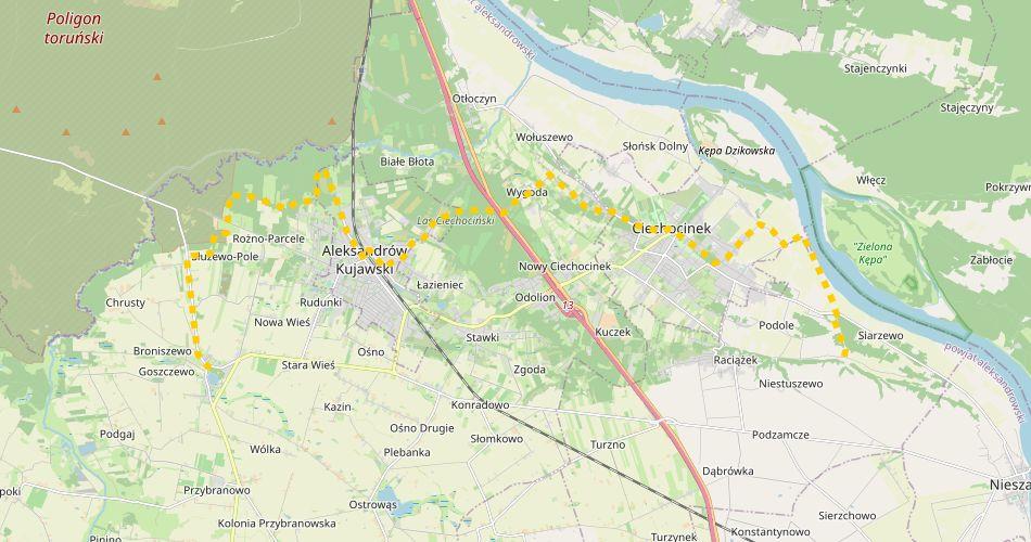 Mapa trasy Podole – Służewo (Kujawski, szlak pieszy, żółty)