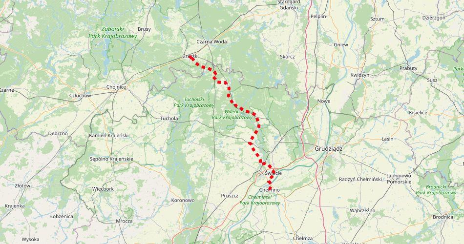 Mapa trasy Świecie – Czersk (szlak rowerowy, czerwony)