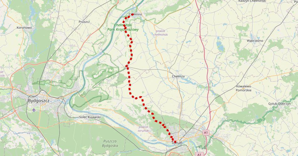 Mapa trasy Toruń – Chełmno (szlak rowerowy, czerwony)