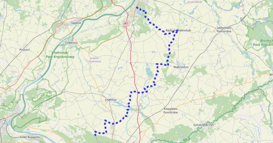Mapa trasy Toruń – Grudziądz (szlak rowerowy, niebieski)