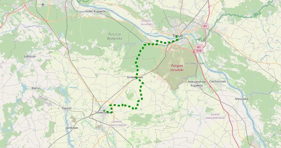 Mapa trasy Toruń – Inowrocław (szlak rowerowy, zielony)