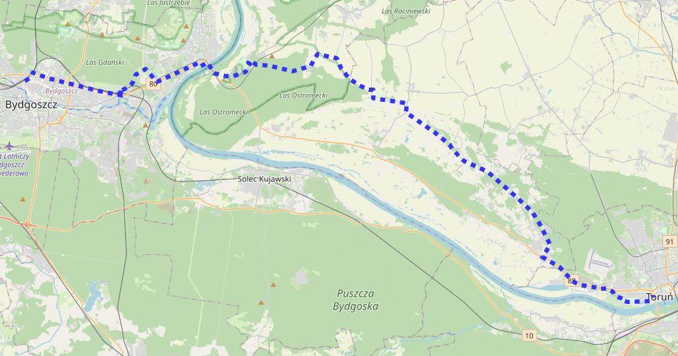 Mapa trasy Bydgoszcz – Toruń (szlak rowerowy niebieski)
