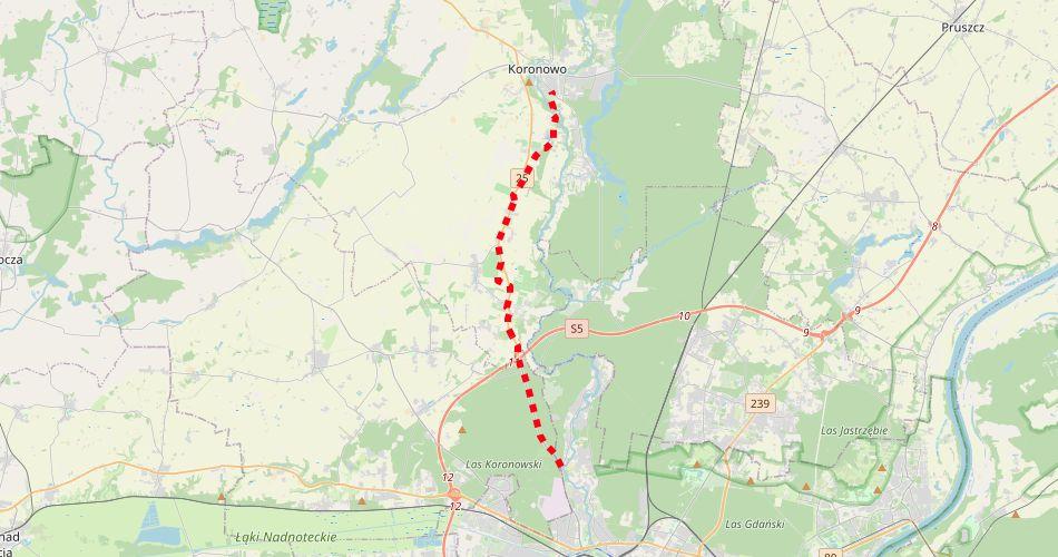 Mapa trasy Ścieżka Rowerowa Bydgoszcz – Koronowo