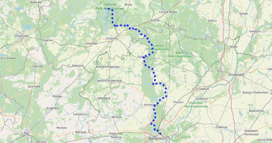 Mapa trasy Bydgoszcz – Chojnice (szlak rowerowy Brdy, niebieski)