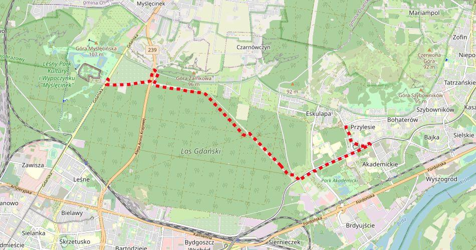 Mapa trasy Bydgoszcz Myślęcinek – Bydgoszcz Fordon (szlak rowerowy, czerwony)