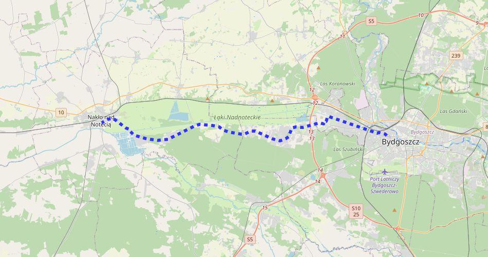 Mapa trasy Bydgoszcz – Nakło (szlak rowerowy niebieski)