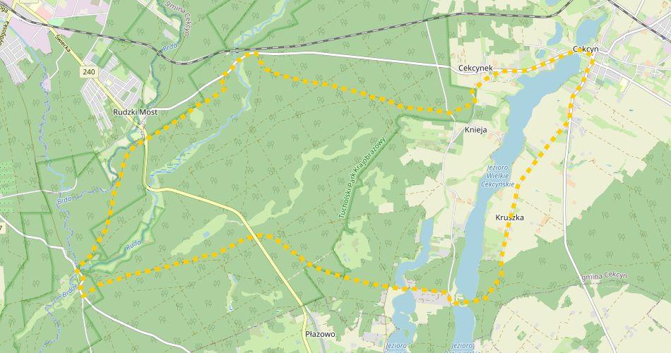 Mapa trasy Do Piekiełka nad Brdą (szlak rowerowy, żółty)